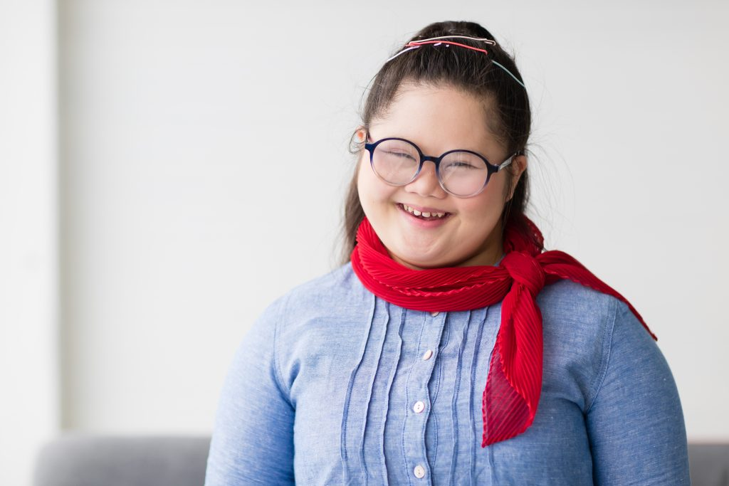 A young girl with Down syndrome